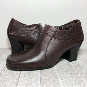 Clarks Brown Leather Chunky Heel Ankle Booties